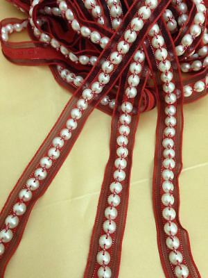 Vintage Style 18mm RED Pearl Beaded Bridal Ribbon Edging Lace Trim Craft 1 Yard • 1£