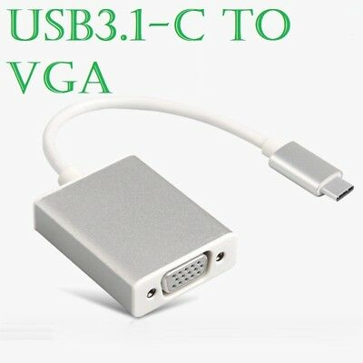 USB-C Type C USB 3.1 Male To VGA 15 Pin Female  Adapter Cable Lead For Macbook • 3.98£