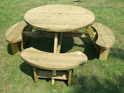 Round Picnic Table Bench Winchester 1140mm Table Top, 38mm Treated Timber • 232.90£