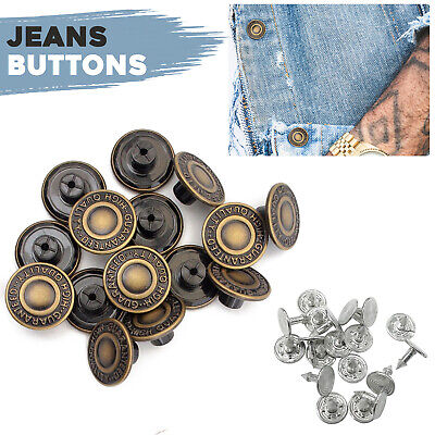 10pcs Hammer On Denim Jeans Buttons 17mm Brass Replacement Studs For DIY Jacket • 2.59£