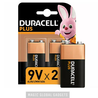 Genuine 2x Duracell 9v Pp3 Plus Power Batteries Smoke Alarms Lr22, Mn1604, 6lr61 • 5.29£
