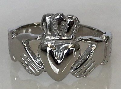 $312 • Buy 14k White Gold Man's Claddagh Ring