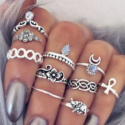 AU6.99 • Buy 10pcs/Set Women Boho Elephant Knuckle Ring Midi Gothic Finger Rings Set Gift AU