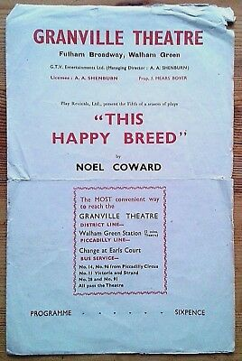 This Happy Breed Programme Granville Theatre 1946 Winifred Hill J. W. Terry • 7.99£