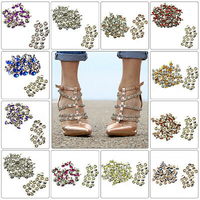 8mm Diamante Crystal Rivets Studs For Leather Bags Shoe Biker Fashion Decoration • 2.29£