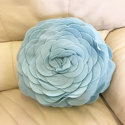 Round Rose Cushion In Duck Egg • 7.99£