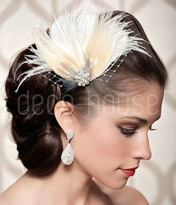 Dyed Peacock Feather Fascinator Wedding Hair Clip Bridal Festival Party Vintage • 9.99£