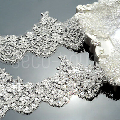 £5.99 • Buy Beaded Sequined Floral Lace Embroidered Trim Ribbon Wedding Dress Bridal Veil