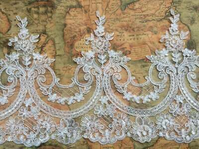 Beaded Sequined Lace Flower Wedding Dress Veil Trim Embroidery Ribbon Fabric • 6.99£