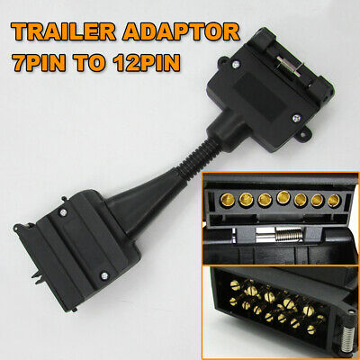 AU18.95 • Buy 7 Pin Flat Female Socket To 12 Pin Male Plug Trailer Adaptor Caravan Connector