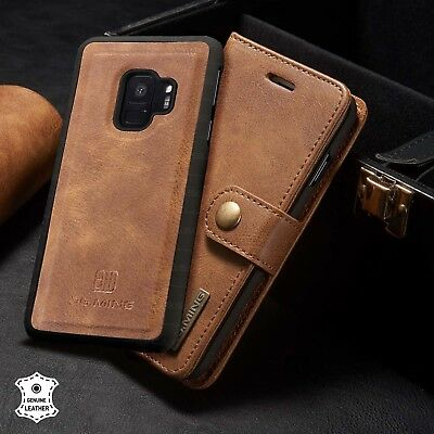 $ CDN24.99 • Buy Galaxy S9 Plus Genuine Leather Case,Vintage Wallet Folding Flip Protective Cover