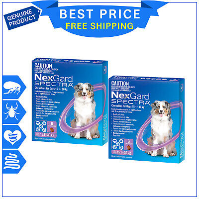 AU233.99 • Buy NEXGARD SPECTRA For Dogs 15.1 To 30 Kg PURPLE 12 Chews ( 6 Pack X 2 ) By Merial