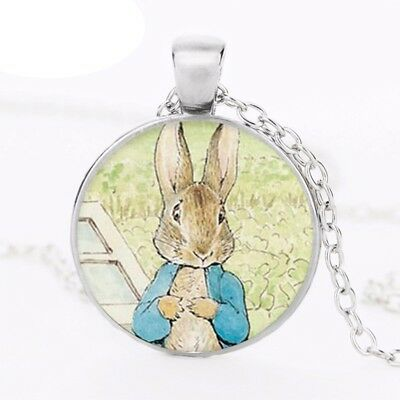£4.99 • Buy Peter Rabbit Glass Dome Pendant Necklace Silver, Cute Bunny Jewellery Gift Uk