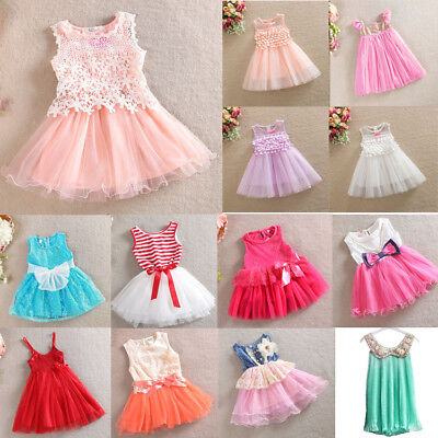 AU14.95 • Buy Girl Dress Lace TuTu Party Birthday Dress Multi Designs Size 3 Months To 8 Years
