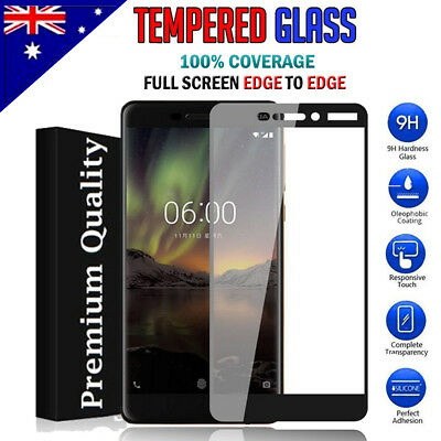 AU4.95 • Buy Full Coverage Tempered Glass Screen Protector For Nokia 5 6 6.1 /6 2018 7 Plus 8