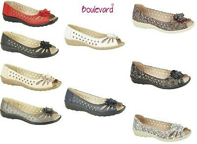 Ladies Comfy Flat Shoes Faux Leather Flower Peep Toe Cut Out Size 3,4,5,6,7,8,9 • 14.89£