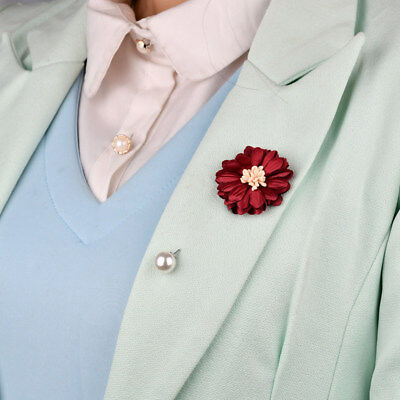 Wedding Camellia Flower Lapel Pin Brooch With Pearl Corsage Suits Boutonniere • 3.80£