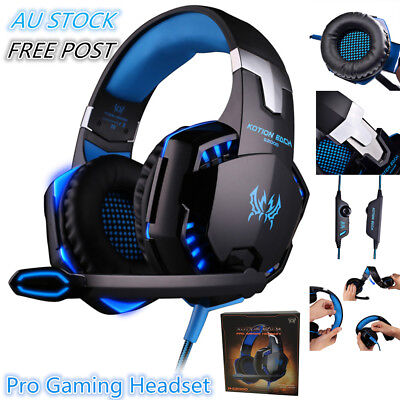 AU33.99 • Buy 3.5mm Gaming Headset MIC LED Headphones Surround For PC Mac Laptop PS4 Xbox One