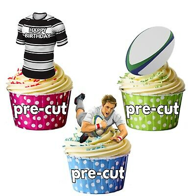 £3.49 • Buy PRECUT Birthday Rugby Party Pack Cup Cake Toppers Decorations Hull FC Colours
