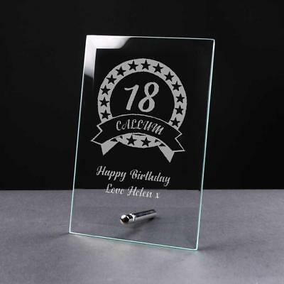 Personalised BIRTHDAY Gift 18th/21st/30th/40th/50th/60th/70th Glass Plaque GP32 • 9.81£