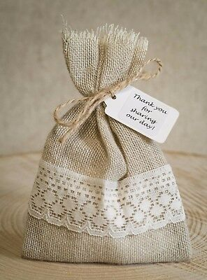 Rustic Hessian & Lace Vintage Wedding Favour Bags Personalised Shabby Chic 1-100 • 15£