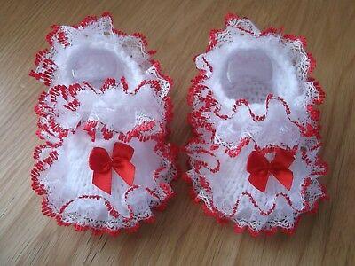 £5.50 • Buy Hand Knitted Romany Baby Shoe/booties White/red- Fit 0-3 Mths/reborn Doll-b9