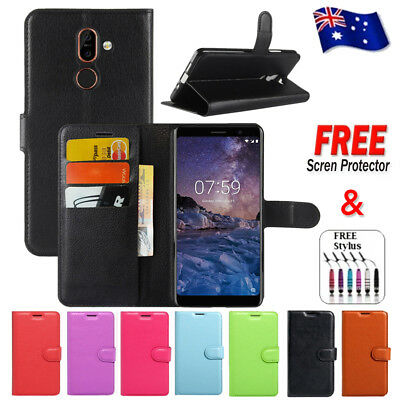 AU6.98 • Buy Wallet Leather Card Holder Flip PU Case Cover For Nokia 7 Plus + FREE Protector