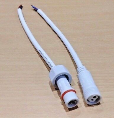 Waterproof 2 Pin Plug And Socket Pair, White, 140mm Cable For LED Lighting 300V • 2.79£