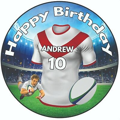 £5.49 • Buy Personalised Birthday Cake Topper 8  Icing Rugby Shirt St Helens Colours
