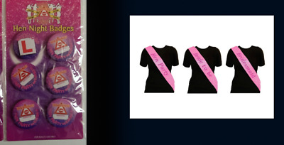 £2.50 • Buy Hen Pack = 5 Hen & 1 L-Plate Badge 5 Hen Party 1 Bride To Be 1 Bridesmaid Sashes