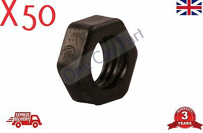 50x 8mm BLACK NYLON PLASTIC FULL NUTS FOR M8 SCREWS AND BOLTS NEW PACK • 4.75£
