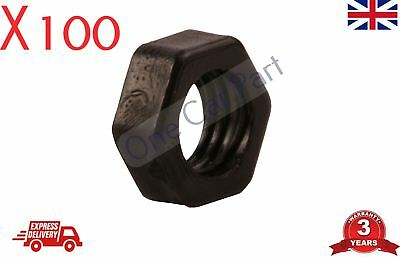 100 X 8mm BLACK NYLON PLASTIC FULL NUTS FOR M8 SCREWS AND BOLTS NEW PACK • 7.25£