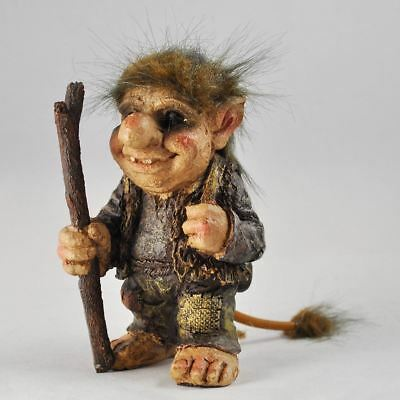 Troll Holding Walking Stick Sculpture Gift Ornament Home Fantasy Home Decor  • 14.95£