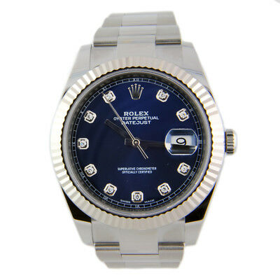 $ CDN17000.84 • Buy Rolex Datejust II 126334 Oyster Steel & 18k White Gold Bezel 41mm Blue Diamond