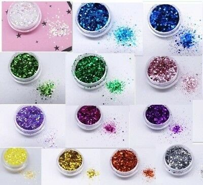 Chunky Fine Mixed Glitter Pot Nail Face Eye Body Tattoo Glitter 21 Colours • 1.50£