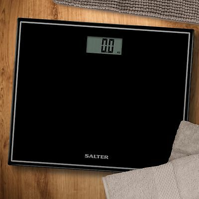 Salter Digital Black Bathroom Scales Compact Glass Profile Body Weighing 9207 • 12.99£