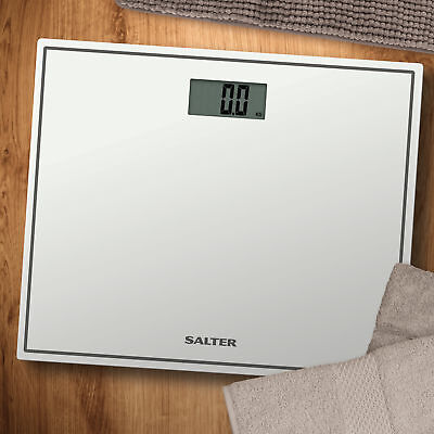 Salter Digital White Bathrooom Scales Compact Glass Profile Body Weighing 9207 • 12.99£