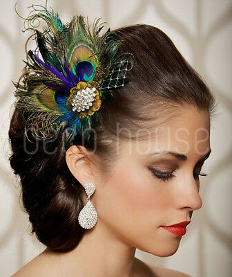 Royal Blue Peacock Feather Fascinator Hair Clip Wedding Party Vintage Headpiece • 12.99£