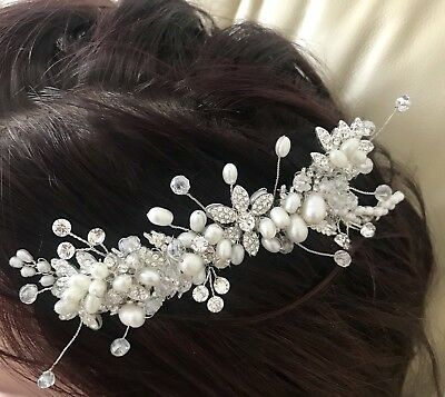 Pearl Beading And Jewels Silver Bling Wedding Party Hair Comb Hair Accessory • 8£