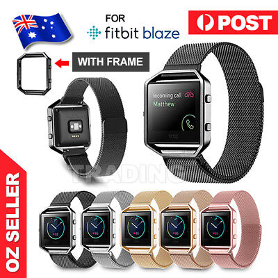 AU3.85 • Buy Milanese Stainless Steel Magnetic Loop Wrist Band Strap + Frame For Fitbit Blaze