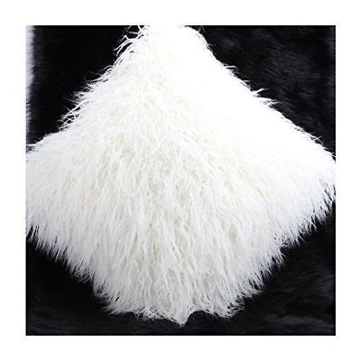 £12.99 • Buy  FAUX MONGOLIAN FUR CUSHION WITH FAUX SUEDE BACK IN WHITE 45X45cms 18 X18