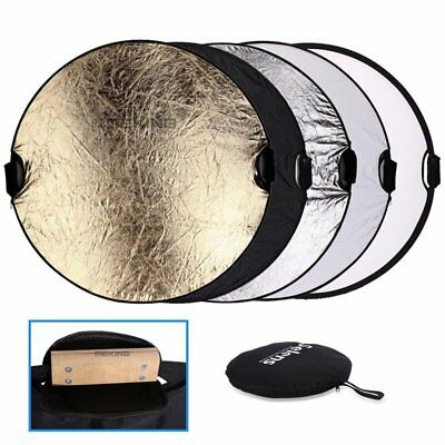43  110cm Photography Studio Multi Photo Disc Collapsible Reflector Wooden Grip • 35.52£