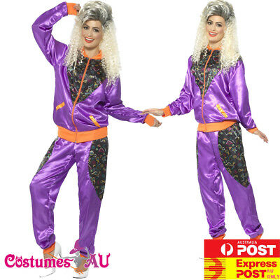 AU31.82 • Buy Womens 80s Height Of Fashion Purple Shell Suit Tracksuit 1980s Ladies Costume