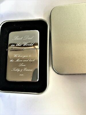 £5.75 • Buy Engraved Petrol Lighter Best Dad Daddy Fathers Day Xmas Personalised Gift Uk