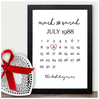 Personalised 1st 2nd 10th Wedding Anniversary Gifts Ten Years Wedding Date Gifts • 4.95£