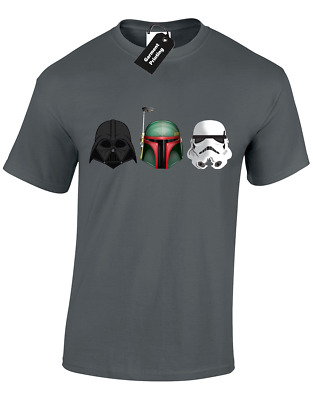 3 Helmets Mens T-shirt Star Trooper Storm Wars Jedi Boba Darth Fett (colour) • 6.99£