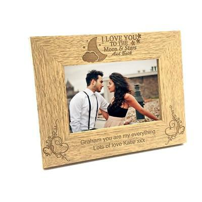 Personalised Landscape I Love You To The Moon Wooden Photo Frame Gift FW175 • 12.98£