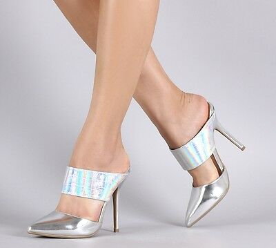 $27.85 • Buy Silver Hologram High Heel Mule Slip On Pointed Toe Stiletto Pump Womens Shoes