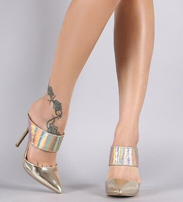 $27.85 • Buy Gold Hologram High Heel Mule Slide Pointed Toe Stiletto Pump Womens Shoes