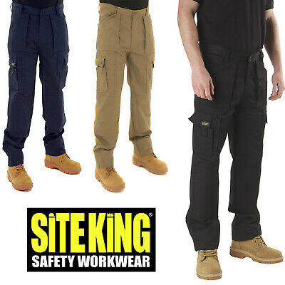 £22.99 • Buy SITE KING Mens Combat Multi Pocket Army Action Work Trousers & Knee Pad Pockets